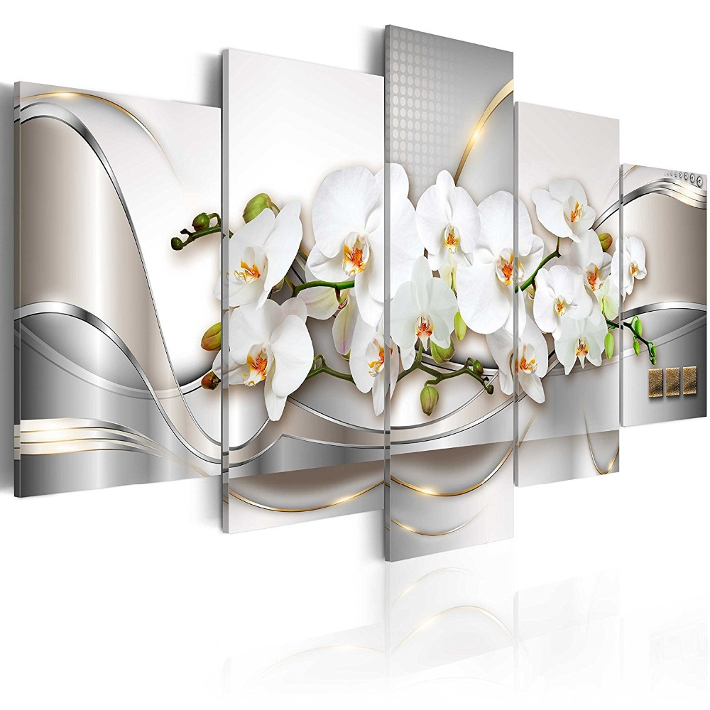 Large 5 Pieces Butterfly Orchid Flowers Canvas Print Wall Art Painting Decor for Home Decoration Picture for Living Room Stretched Framed White Floral Artwork (60x30, Ocean of Innocence)