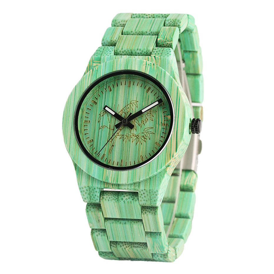 Creative Green/Grey Color Wooden Bamboo Watches Vintage Bamboo Pattern Face Dial Wood Band Wristwatch for Men Women Unisex Gifts