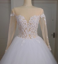 Real Vestidos de Novia Ball Gown Long Sleeves Wedding Dresses See Through Bodice Lace Appliques Cheap