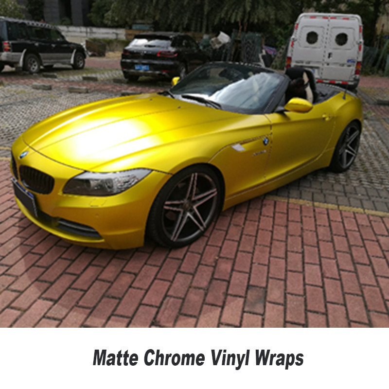 Or jaune mat chrome voiture film mat chrome enveloppe mat or vinyle autocollant avec bulles d'air 5ft X 65ft/Roll
