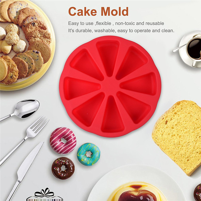 8 Cavity Scone Pans 3D Silicone Cake Mold DIY Baking Pastry Tools Cake Mould Oven Bread Pizza Bakeware Jelly Cupcake Mold