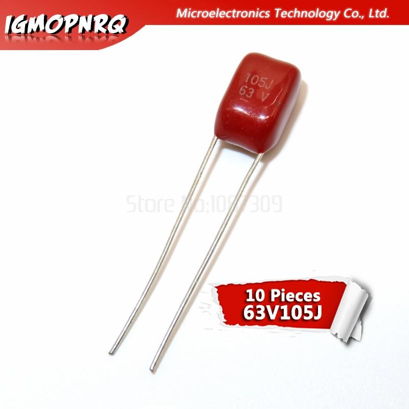 10PCS 63V105J  1UF Pitch 5MM 63V 105 1000nf Igmopnrq CBB Polypropylene Film Capacitor New