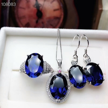 KJJEAXCMY boutique jewels 925 pure silver inlaid natural sapphire lady's Ring + Pendant + earring support test