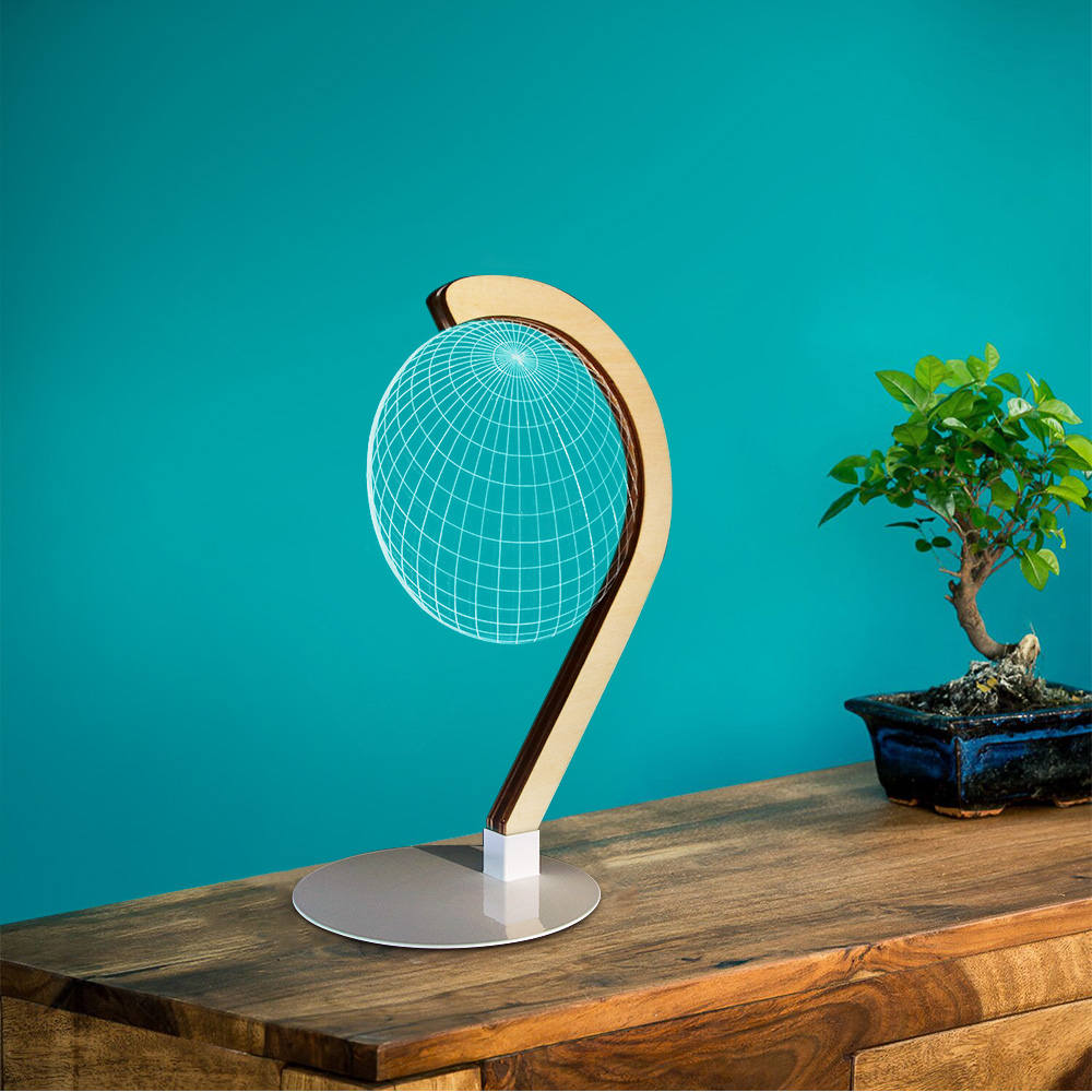 3D Effect Spherical Bulb Optical Illusion Table Lamp Home Furnishing Lighting Novelty Night Light Home Bedroom Decor Visual Lamp
