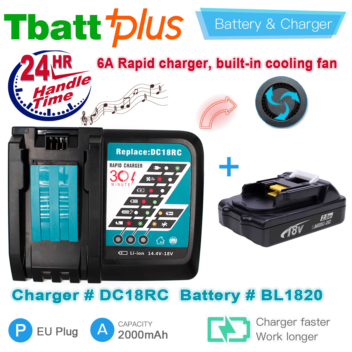 For Makita BL1820B BL1815 18V Compact Lithium-Ion Battery BL1815N BL1830 BL1820 LXT 2.0Ah New & Makita DC18RC 18V li-ion charger 3pcs set 18v lithium li ion battery 3000mah rechargeable replacement power tool battery for makita li ion lxt 18v machines