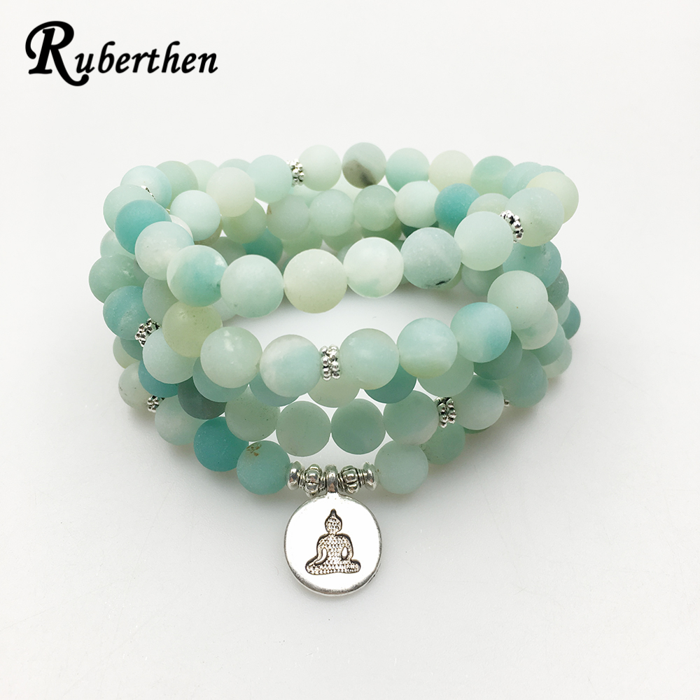 Ruberthen 2017 Neue Design AB + Amazonit Mala Perlen Armband Trendy Yoga Halskette Hohe Qualität Handgemachte Natürliche Stein Armband