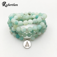 Ruberthen 2017 New Design AB+Amazonite Mala Beads Bracelet Trendy Yoga Necklace High Quality Handmade Natural Stone Bracelet