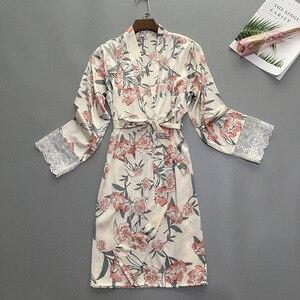 Image 2 - Summer Womens Sleep Robe Pajamas Sleepwear Lady Home Wear Nightgown Sexy Kimono Bath Gown Sleepshirts M XL