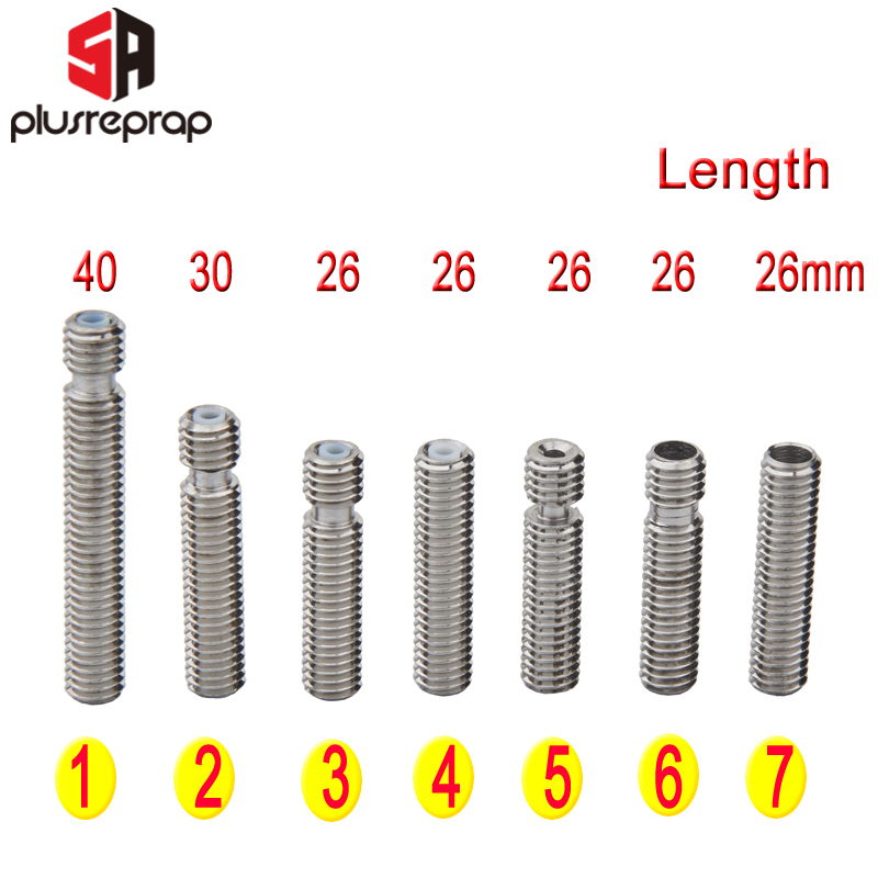 3D Printer Parts For MK8 M6 1.75mm Filament Stainless Steel Throat PTFE Tube Nozzle Extruder 26mm 30