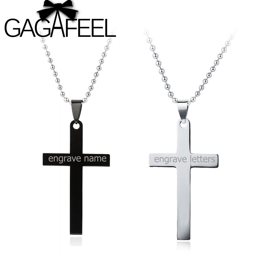 Gagafeel personalized engraved name stainless steel cross pendant gagafeel personalized engraved name stainless steel cross pendant necklaces black silver colors lovers jewelry best gift in pendant necklaces from jewelry aloadofball Images