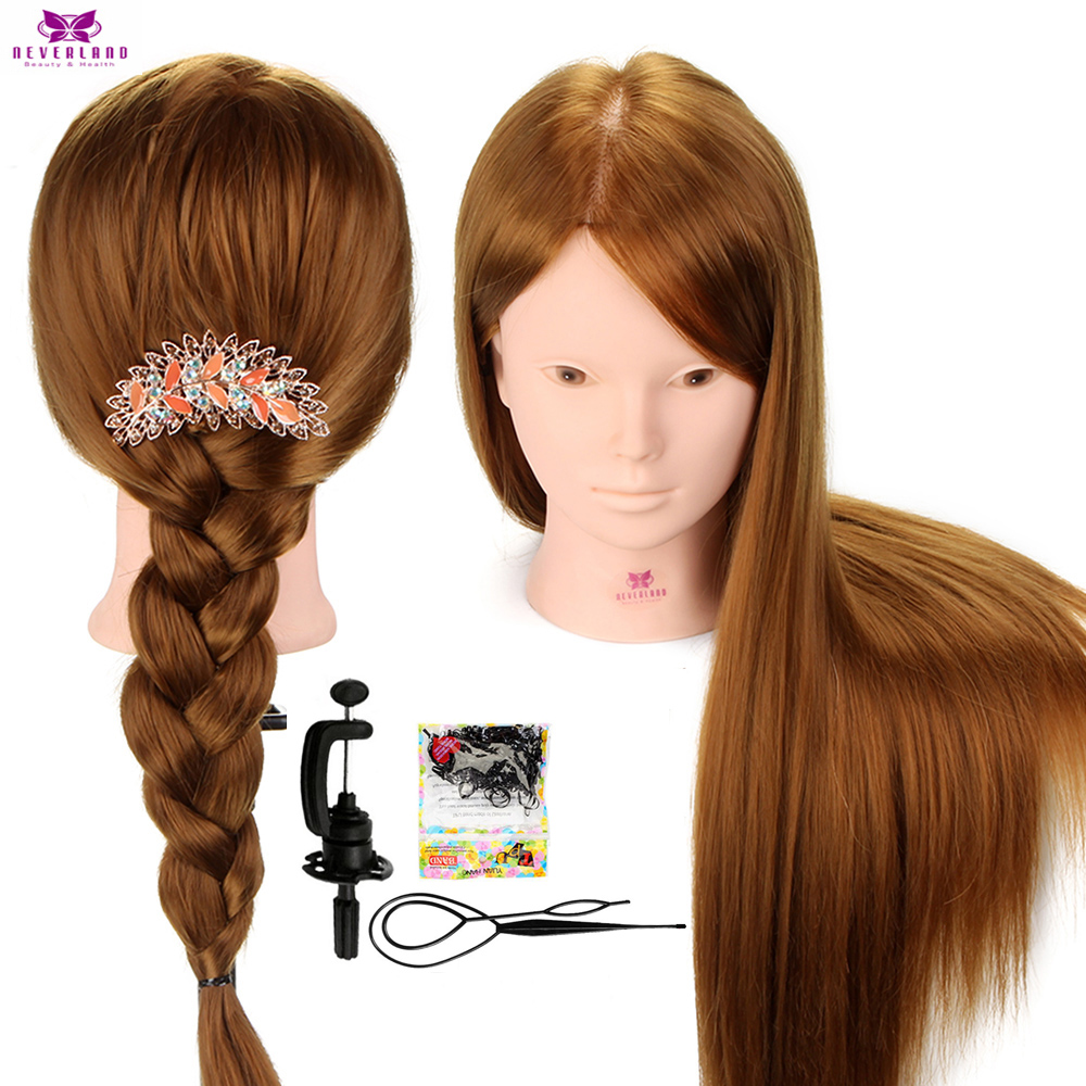 """Brown 24"""" 60% Human Hair Cosmetology Training Mannequin Head For Makeup Hairdressing Doll Manikin Heads For Hairstyles Braiding"""