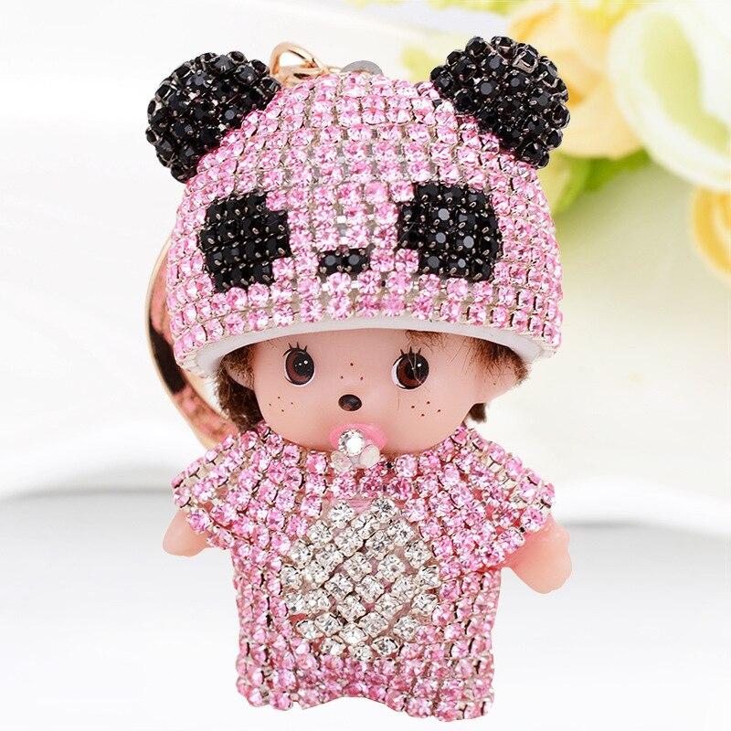 Cute Luxury Rhinestone KiKi Keychain Panda Monchichi Key Rings Holder Car Crystal Key Chains Women Bag Purse Jewelry Pendant