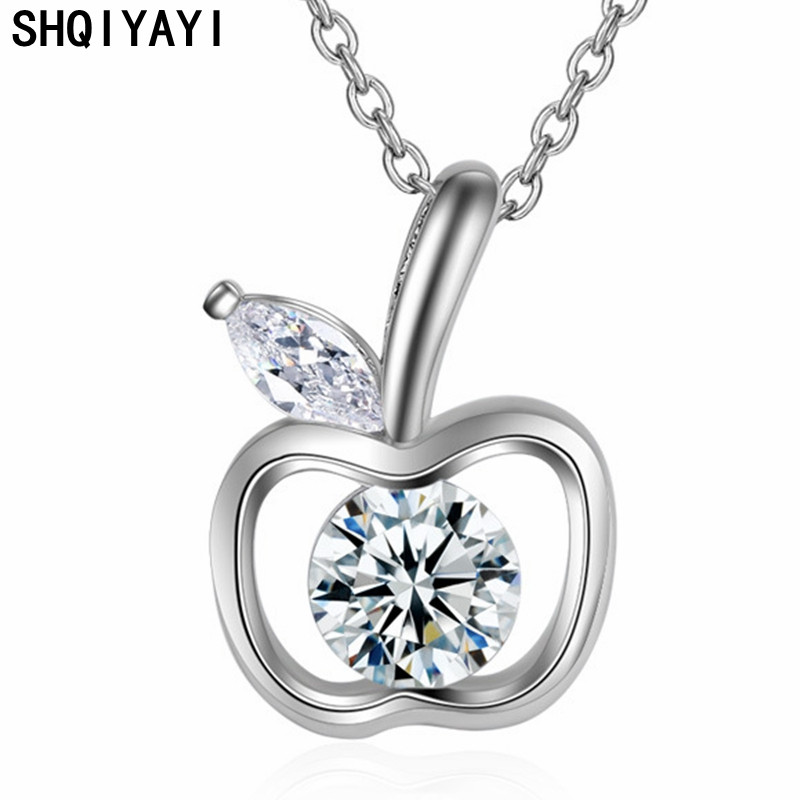 SHQIYAYI ажурное ожерелье с подвеской в виде яблока кубический цирконий модные ювелирные изделия в подарок CZ Кристалл женские короткие цепочки...