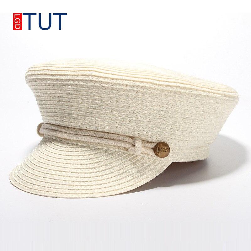 Accessories summer female sun hat Baseball cap flat top army cap women's straw hat beach hat topper Panama beret hats for girl