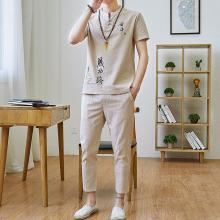 LOLDEAL Summer New Chinese Style Embroidery Cotton and Linen Nine Pants Short-sleeved T-shirt Suit