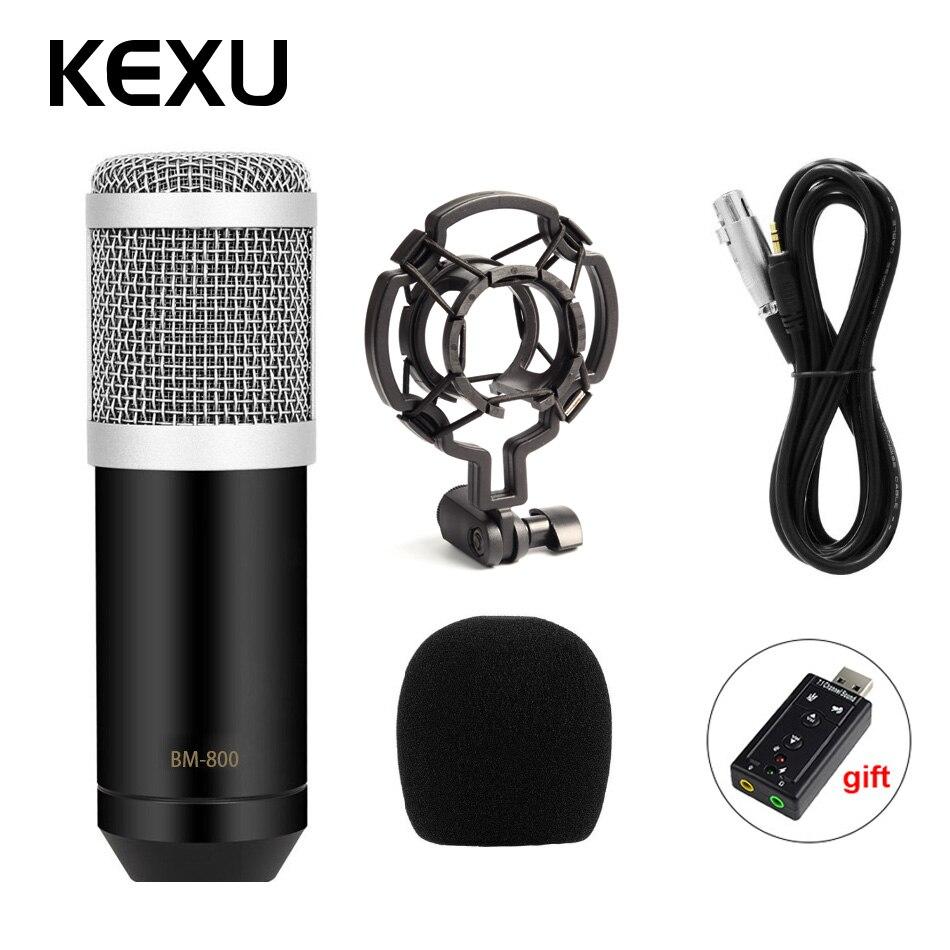 KEXU Professionelle LEIHAO BM-800 bm800 Kondensator Sound Aufnahme Mikrofon mit Shock Mount für Radio Braodcasting Singen Mic