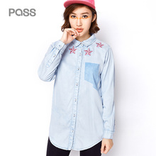PASS 2017 Autumn New Lapel Shirts Female Long Style Blouse Casual Pocket Embroidery Tops