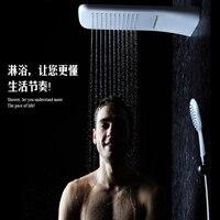 Белый хром Настенный душ система головы комплект Showerhead дождь осадков водопад Термостат Ванная комната, набор для душа