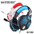 + Hot venda + kotion each g1100 preto azul/branco vermelho 3.5mm gaming headphone casque headset telefone cabeça + mic respiração luz led