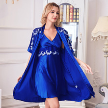 купить 2019 Sexy 2 Pcs Robe Sets Faux Silk Satin Lace Nightgown+Robe Women Pajamas Suit Female Night Dress Bathrobe Sleepwear дешево