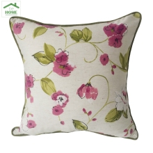 Plum Pink and Green on Cream  Flower Decorative Pillow