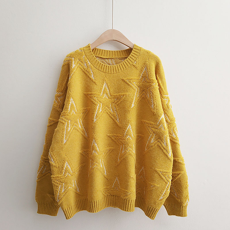 H.SA 2018 Winter New Women Pullover And Sweaters Oneck Stars Pattern Jumpers Loose Style Oversized Knitwear Cashmere Sweater