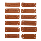12pcs English Hand Made Labels PU Leather Tags On Clothes Garment Embossed Labels Jeans Bags Shoes Apparel Sewing Accessories