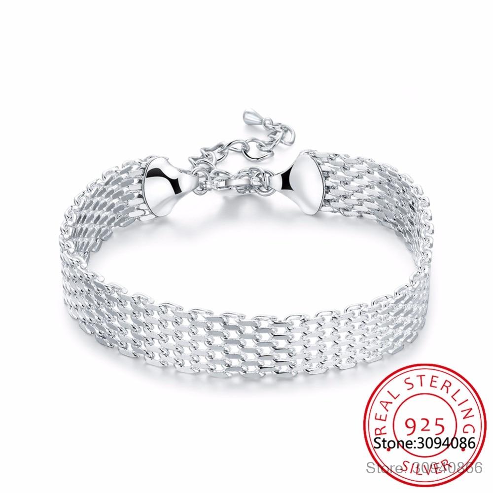 LEKANI Women's Fashion Bracelet 925 Sterling Silver Soft Watchband Charm Bracelet & Bangles Fine Jewelry Pulseiras De Prata