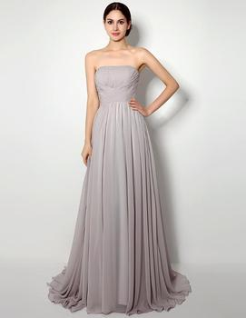 Cheap Long A-Line Strapless Bridesmaid Gowns Chiffon Bridesmaid Dresses Formal Wedding Party Dress Floor Length Bridesmaid Gown фото