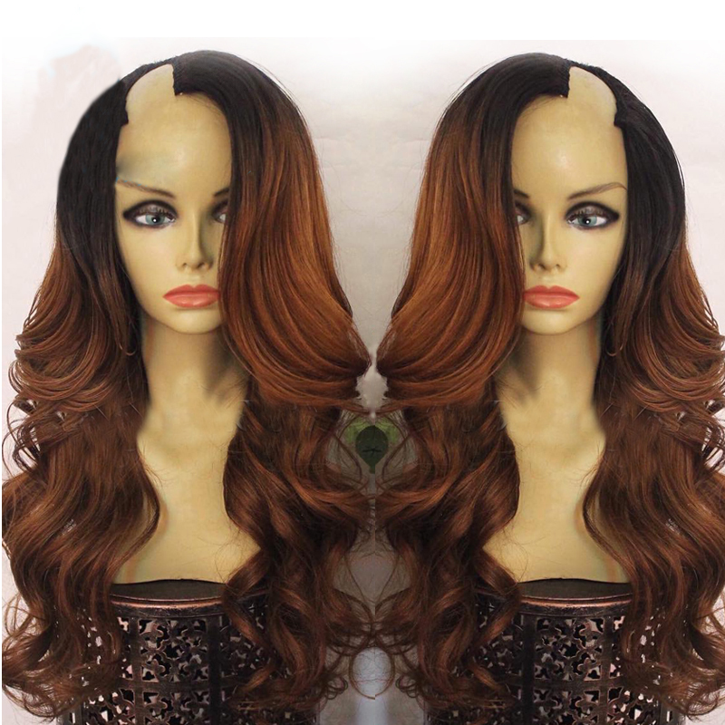 Simbeauty U Part Wig Side Part 1x4 Opening U Part Peruvian Wig Ombre Brown Body Wave Wig With Remy Human Hair Two Tone Color