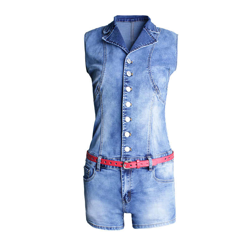 Однобортный женский комбинезон, сексуальное обтягивающее боди, джинсовые комбинезоны, летние модные женские джинсы без рукавов