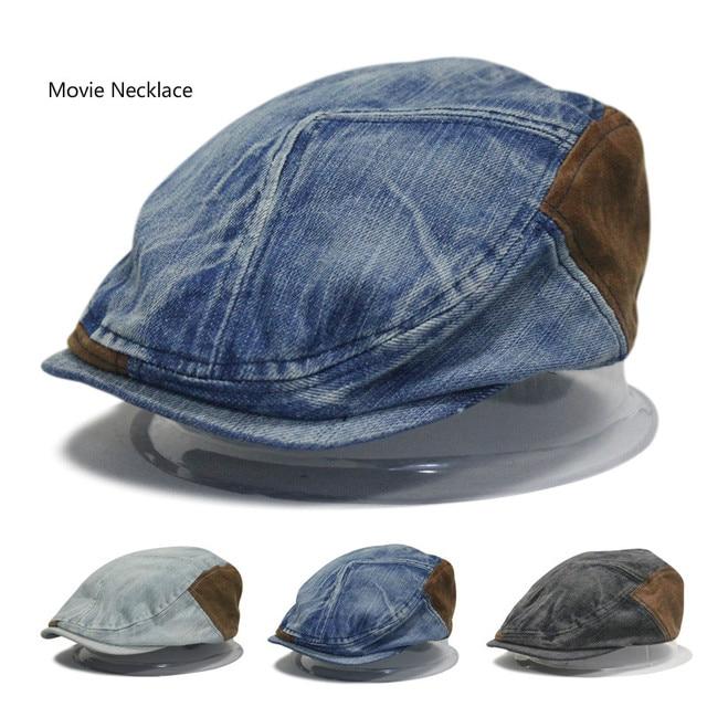 2017 di modo di estate inghilterra vintage jeans cappello berretto uomo per  il tempo libero cappello a7d167503160