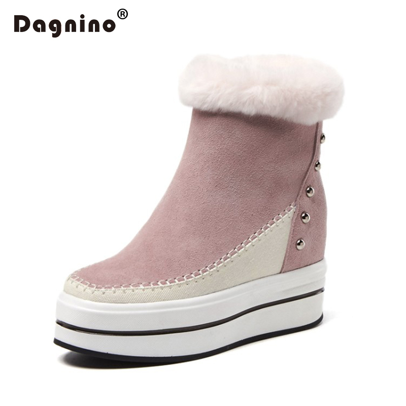 DAGNINO Genuine Leather Women's Rabbit Hair Snow Boots Flat Winter Warm Fur Height Increasing Rivet Casual Ankle Shoes Female комлев и ковыль