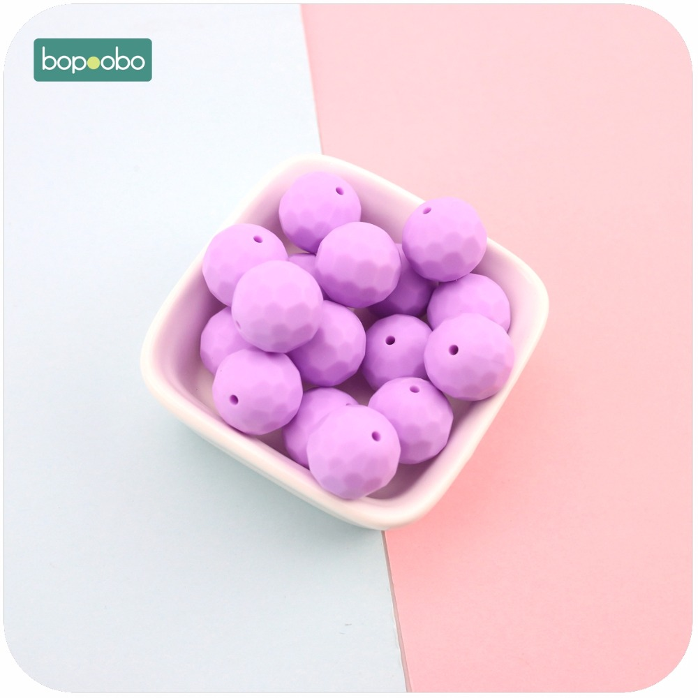Bopoobo Silicone Teether Purple 10pcs 15mm Multi-faceted Beads DIY Teething Necklace Made Chew Silicone Beads Baby Teether