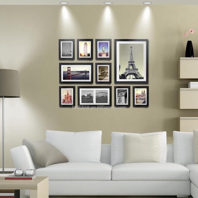 MOLBAB Wood Photo Frame Gallery Wall 10PCS/Set Modern Style Flat ...