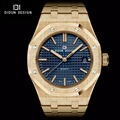 DIDUN Mens Full Steel Luxury Business Watches men Brand Quartz watches Men Dress Watch Luminous gold Wristwatch Water resistant