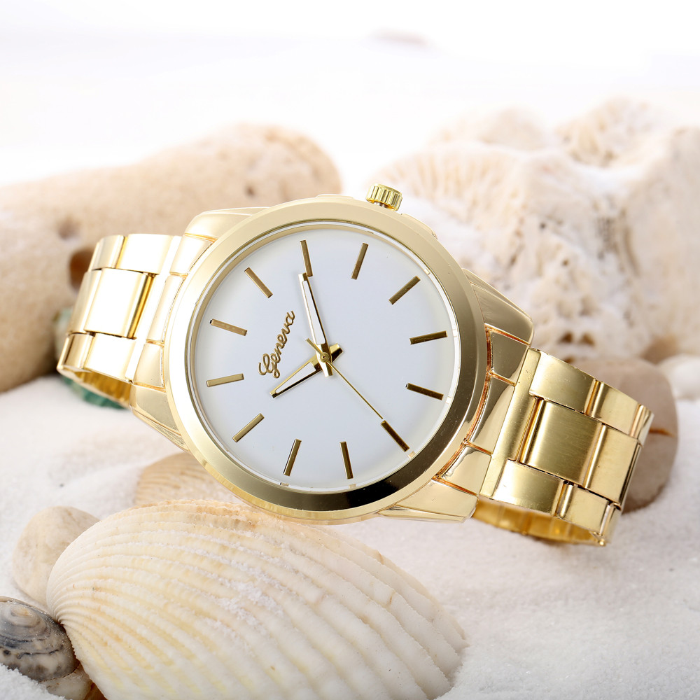Luxury Stainless Steel Men's Bracelet Watches Women Colored Dial Analog Quartz Watch Unisex Female Clock Geneva Wrist Watch #N clock geneva watch women digital numerals quartz gold stainless steel wrist band men s watch luxury casual quartz watches women