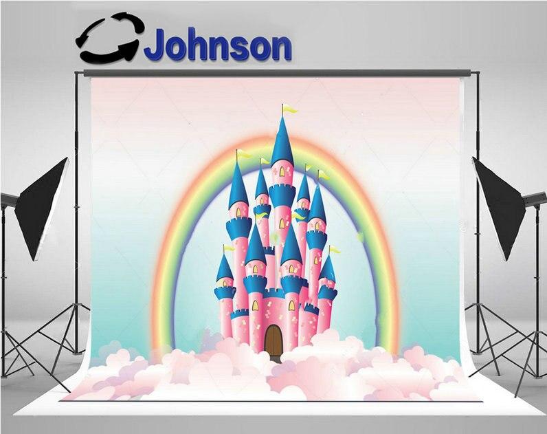 princess palace Pink Fairy Tale Castle Clouds Rainbow photo backdrop Vinyl cloth Computer print party background