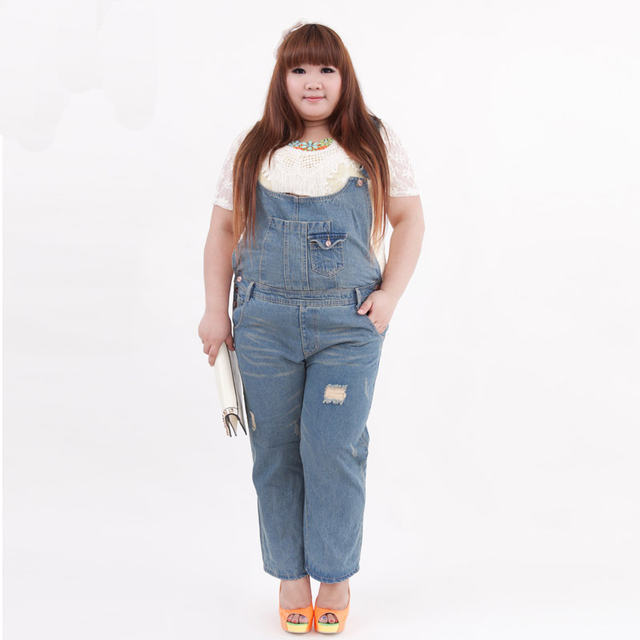 360297b7819 New plus size women jumpsuit 100% cotton denim bib pants ankle length  trousers with M L XL 2XL 3XL 4XL 5XL available