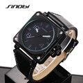 SINOBI Wristwatch Men Fashion Military Sports Watches Waterproof Leather Analog Quartz Watch Hour Male Clock relogio masculino