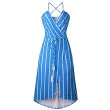 ELSVIOS Women Striped Print Backless Summer Beach Dress Sexy V Neck Wrap Tie Up Split Midi Dresses Casual Spaghetti Strap Dress