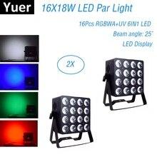лучшая цена LED Par 16X18W RGBWA+UV LED Stage Light DMX Par Light For Disco Christmas Projector Machine Party Wedding Holiday Decorations