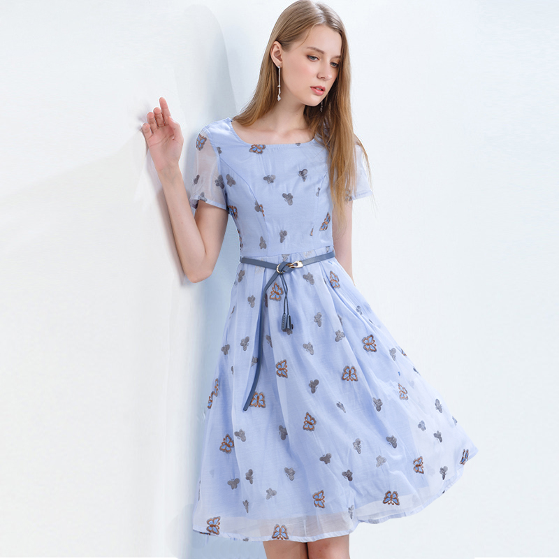 Onlyplus Women Summer Dress 2019 Organza Embroidered Butterfly Elegant A Line transparency Short Sleeve Holiday Party Dresses