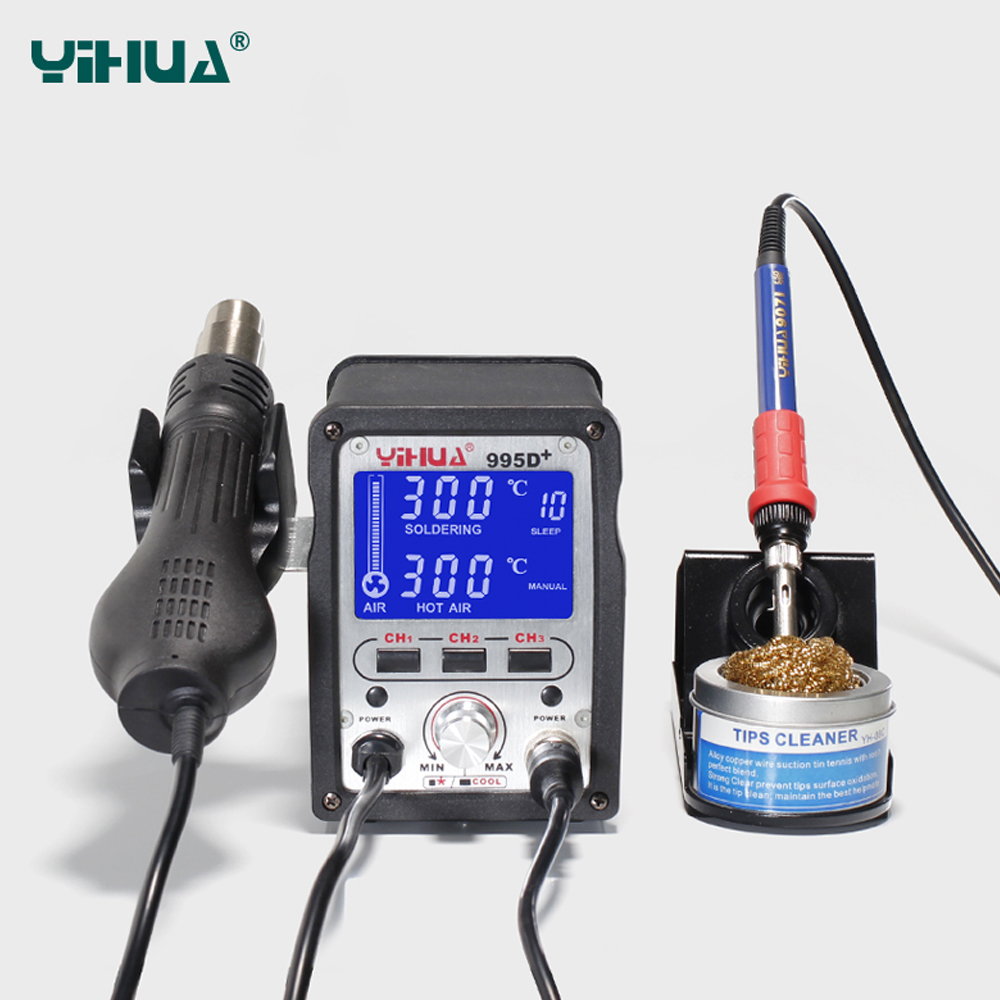 YIHUA 995D+ 2 IN 1 Lead Free Iron Soldering Station With Soldering Station Hot Air For Welding 110V/220V EU/US PLUG LCD display 220v 50w yihua 937 soldering station with extra free hakko a1321 ceramic heater