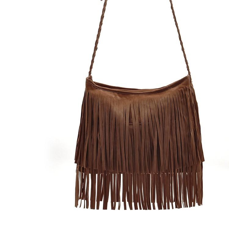 Fashion PU Leather Handbag Tassel bags Vintage Bucket Women Shoulder bag Small Ladies messenger bags Tote bolsa 2015 BH249 (2)