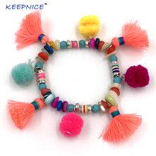 Браслеты с помпонами boho цветной браслет кисточками из хлопка