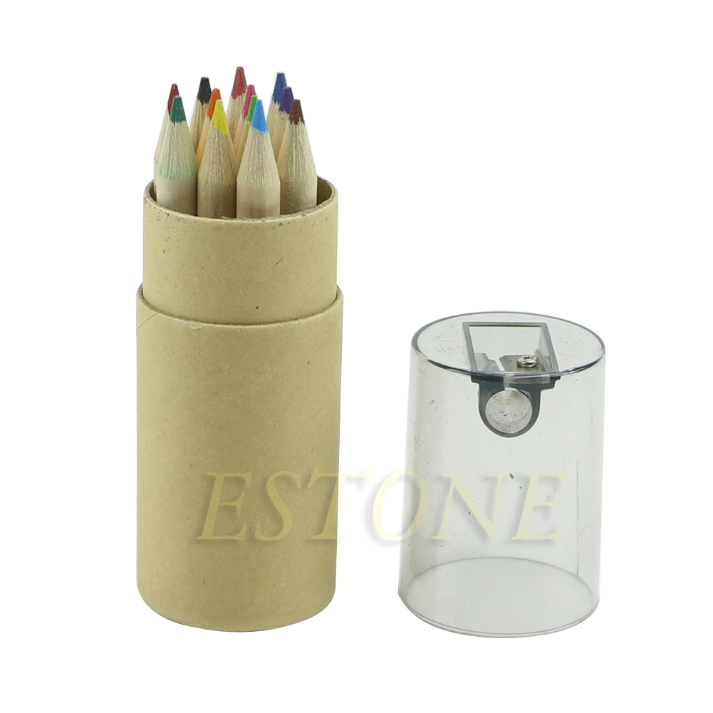 2020 New 12Pc Mini Cute Child Gift Wooden Painting Writing 12 Colors Pencils Pen With Sharpener Set