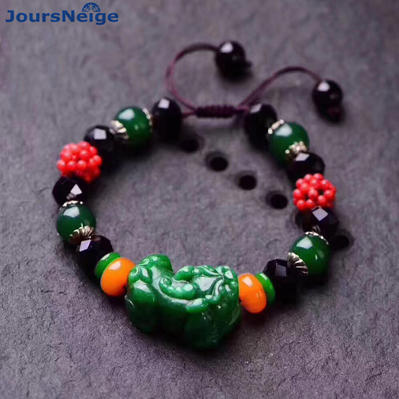 Wholesale Natural Stone Bracelets Waved Black Crystal With Green Stone Pixiu Hand String Lucky for Women Lovers Crystal Jewelry candy coloured string hand chain bracelets