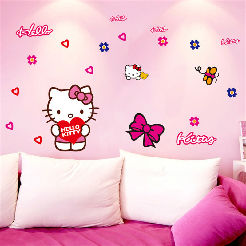 Zhyhgo Wall Stickers For Kids Rooms Hello Kitty Cute Wall Stickers Bedroom Parlor Car Stickers Children S Room 50 70 Wall Stickers Aliexpress