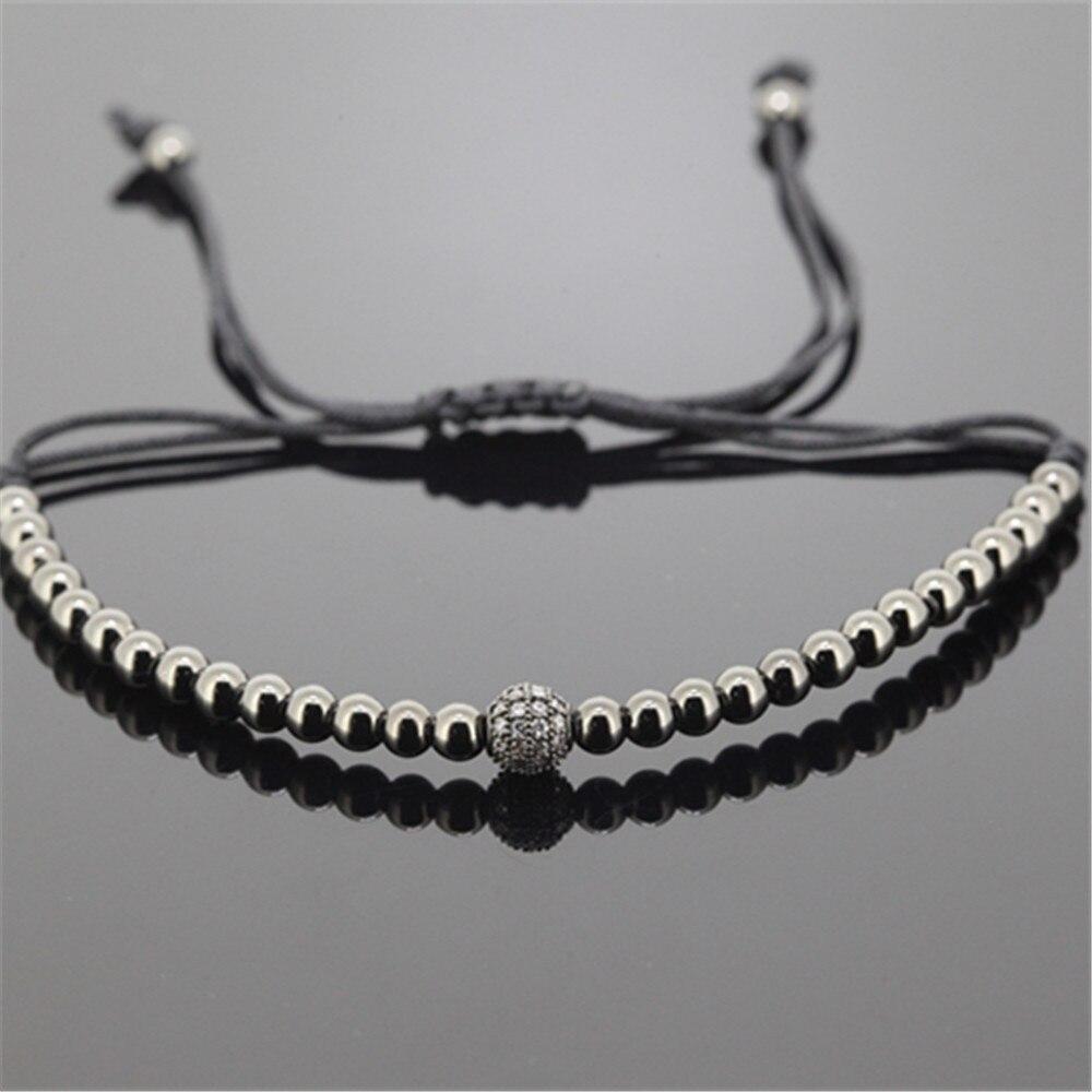 1pcs gold 4mm round Beads & 6mm white micro pave CZ beads briading macrame women bracelet hot brand men weaving bracelet